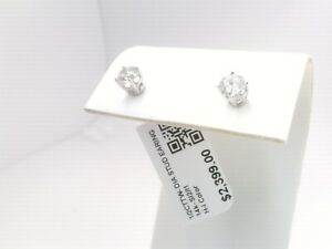 $2400 WOW 1/2CTTW CT REAL Diamond Stud Earrings 14k SOLID WHITE Gold NO RESERVE
