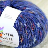 Sale New 1BallsX50g Fluffy Soft Colorful Velvet Shawls Hand Knit Crochet Yarn 09