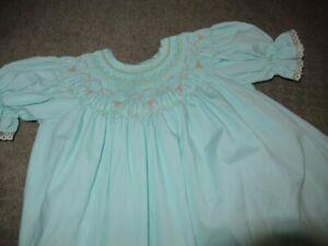 euc unknown brand mint green smocked bishop dress girls ~2T  free ship USA