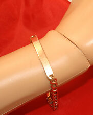 100% Genuine 9k Solid Rose Gold Flat Curbed Links Name Plate ID Bracelet. As new