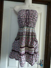 MISO SIZE 8 FLORAL STRAPLESS  MINI DRESS T5