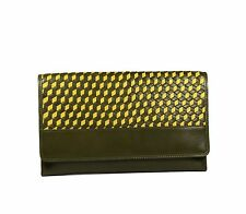 Cole Haan Parker Weave Envelope Clutch Bag Genuine Leather Fatigue/Hass Green