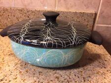 1950s Turquoise Aqua Serendipity Spaghetti Enamel Ware Pot with Lid - Vintage