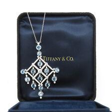 NYJEWEL Tiffany & Co. Large Platinum 6.7ct Aquamarine Diamond Pendant Necklace