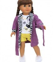 "Doll Clothes 18"" Robe Pajamas Zebra Yellow Fits American Girl Dolls"
