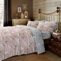 "Fusion ""Fluffy Penguin"" 100% Brushed Cotton Duvet Cover Bedding Set Blush Pink"