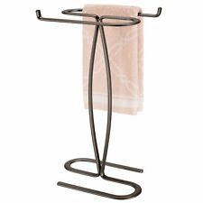 mDesign Metal Hand Towel Holder Stand for Bathroom Vanity Countertop - Bronze