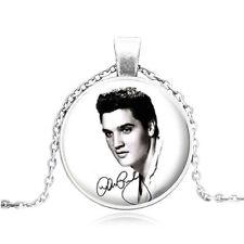 Hot Vintage Cabochon Tibetan Silver Glass Elvis Presley Pendant Necklace #50