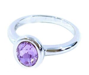 Authentic Swarovski Purple Crystal Ring Rhodium Silver Tone Size 8 NEW #5101248