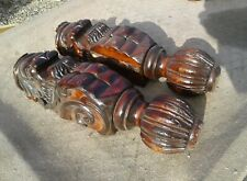 Pair of Antique Morris Chair Fu Dog Carved Heads Mahogany Salvage Parts 1920s