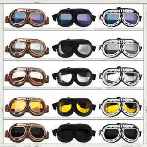 Retro Vintage Motorcycle Goggles Aviator Pilot Flying Eyewear Glasses Helmet ATV