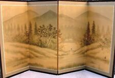 Japanese Yonkyoku Byobu Gold Leaf Folding Screen - River and Country Landscape