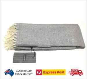 Ermenegildo Zegna Scarf Light Grey Fringes 100% Virgin Wool Italy * NEW with Tag