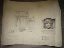 DESSIN D'ARCHITECTURE 1910 SIGNE SALLE DE BILLARD ORIGINAL