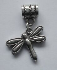 PEWTER CHARM suit European Bracelet #2260 DRAGONFLY (19mm x 16mm) DOUBLE SIDED