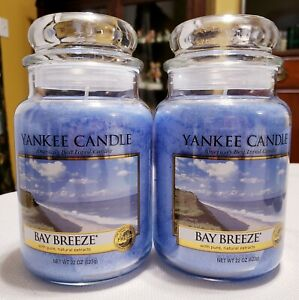 Yankee Candle Bay Breeze Lot of Two Large 22 oz.