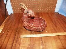 Vintage Wicker Figural Deer Basket - Red Woven Rattan Basket