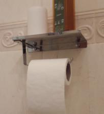 Toilet Roll Holder with Shelf Rack Paper Tissue Restroom Bathroom Accessories