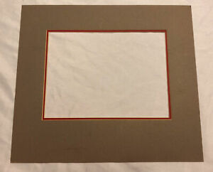 Vintage Pre Cut Photo Mat Rectangle Grey & Red Photo Size 8x6