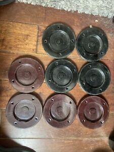 lot of 8 vintage SHUFFLEBOARD pucks discs 4 red 4 black G2