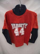 BNWT Boys Sz 10/12 Orange/Navy Long Sleeve Hoodie Top