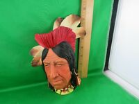 """Tecumseh"" Shawnee Chief Bossons Chalk Ware England Hand Painted Head Figure"