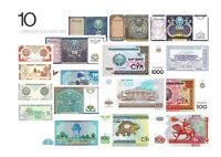 UZBEKISTAN 1 - 1000 SUM 1994 - 2001 | 10 USBEKISTAN BANKNOTEN SET UNC UNZ
