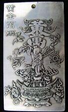 """Old Chinese Tibet Silver""""Gold wanliang"""" Amulet Bullion Statue Thangka Netsuke"""