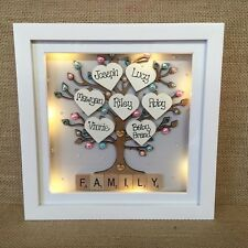 Personalised LED light 3D Deep Box Frame Family Tree Scrabble Christmas Gift
