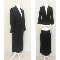 M&S Petite Blazer Suit Skirt 2 Pc Set Regular 14 Black 100% WOOL Formal Office