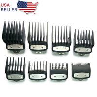 8Pcs/Set Hair Clipper Limit Comb Guide Attachment Size Barber Tool Black US