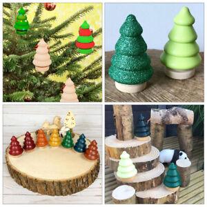 20 Pieces 56mm Wood Peg Doll Wooden Christmas Tree Kids Xmas DIY Graffiti Craft