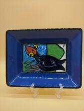 Pottery Dish Small Tray plate NEW ZEALAND Black Bird by KILSBY Smile Inducing !