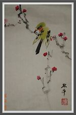 Professional Chinese Freehand Brush Work: Plum Blossom & Green Bird