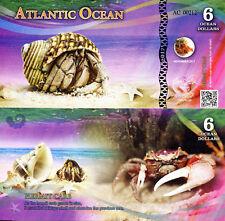 ATLANTIC OCEAN 6 Ocean Dollars Fun-Fantasy Note 2017 Banknote Hermit Crab Bill