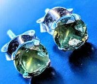 MOLDAVITE EARRINGS 925 Silver! Genuine Green Tektite Synergy 12 Crystal Jewelry