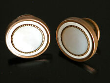 Antique Mother of Pearl Cuff Links White Celluloid Brass Tone Metal Art Deco