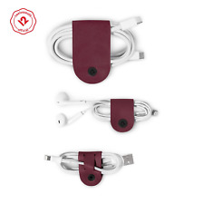 Twelve South CableSnap 3-pack Leather Cable Organizer Marsala Tangle Free Coiled