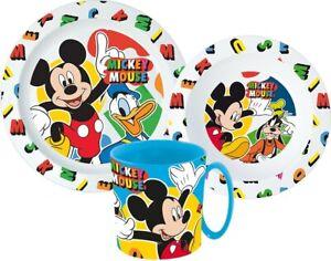 Mickey Mouse Dishes Set Cutlery Breakfast Children Disney Donald Kindergarten