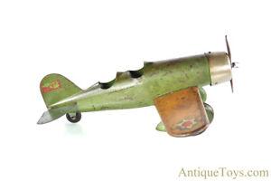 Steelcraft/Murray Large Green Pressed Steel Lockheed Sirius Airplane