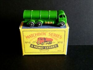 Matchbox Lesney 11a ERF Road Petrol Tanker Restored to the very Rare Green & Box