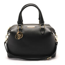 Versace Collections Women Pebbled Leather Handbag Satchel Black