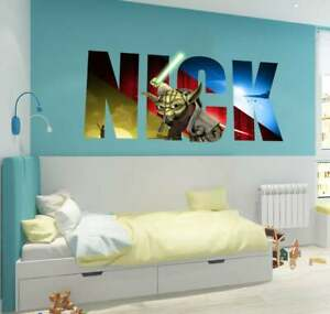 Yoda, Star Wars Custom name wall decal, personalized sticker, personalized decal