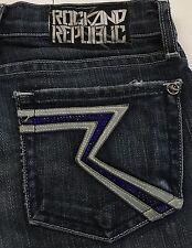 Women's ROCK & REPUBLIC Kasandra Glittery Pocket Boot Cut Blue Jeans Size 23
