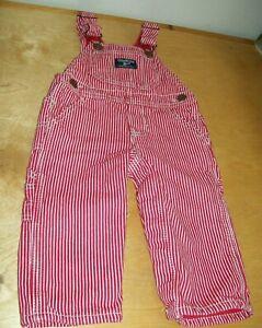 VTG Baby Boy/Girl Osh Kosh B'Gosh Vestbak Red Stripe Lined Overalls Size 12 mths