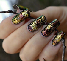 Cute Women Gold Peacock Feather nail Stickers Decals Nail Art tip decoration  O
