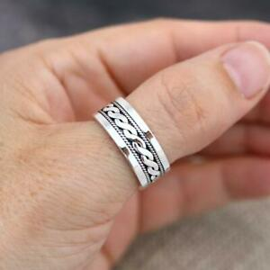 925 Sterling Silver Bali design Band Finger Thumb Ring Balinese Jewellery 8mm