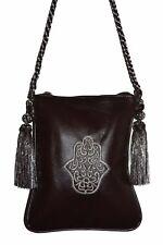 Moroccan Handbag Faux Leather Shoulder Bag Purse Embroidered Hamsa Chocolate