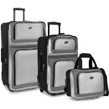 US Traveler Gray New Yorker 3-Piece Expandable Rolling Luggage Suitcase Bag Set