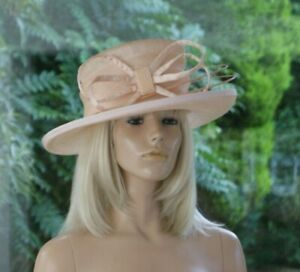 Pale Peach/Bow/Quills/Michel Ambers Hat & Hatbox/Wedding/Mother of the Bride